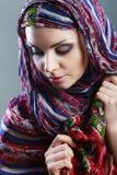 Woman scarf. Beautiful Arabic woman wearing head scarf Royalty Free Stock Image