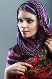 Woman scarf. Beautiful Arabic woman wearing head scarf Stock Photo
