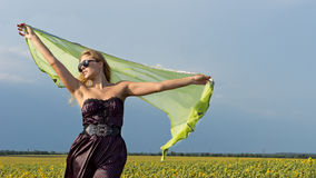 Woman with scarf in the countryside Royalty Free Stock Images