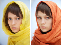 Woman with scarf covering her hair. Two images of a pretty woman with scarf covering her hair Stock Photo