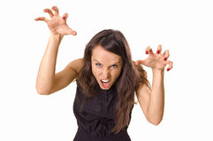 Woman scaring us Royalty Free Stock Photography