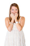 Woman scary expression Royalty Free Stock Photography