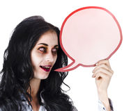 Halloween woman with speech bubble Royalty Free Stock Photos