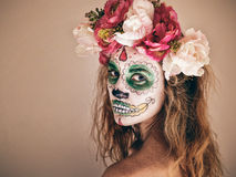 Woman with scary makeup royalty free stock photography