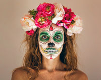 Woman with scary makeup Royalty Free Stock Images