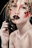 Woman with scary spikes on face. Blonde woman with scary spikes on face Royalty Free Stock Photos