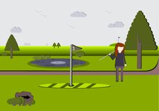 Woman on a Scenic Golf Course Royalty Free Stock Images