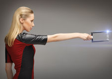 Woman with sci fi weapon Royalty Free Stock Images
