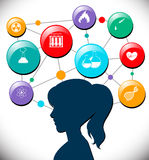 Woman with science icons diagram Stock Images