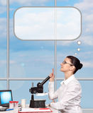 Woman scientific researcher thinking Stock Photos