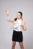 Woman scientist with atom model, research concept Royalty Free Stock Image