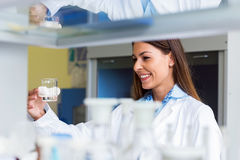 Woman scientist carrying out experiment in research laboratory Stock Image