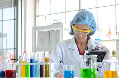 Woman scientist doing experiment. stock image