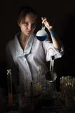 Woman scientist holding a flask Royalty Free Stock Image