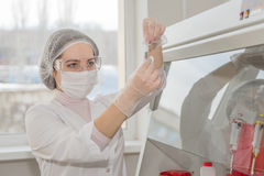 Woman scientist in a lab Stock Image
