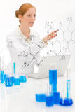Woman scientist in laboratory with laptop Royalty Free Stock Image