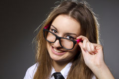 Woman scientist, professor or student with dorky g Stock Photos