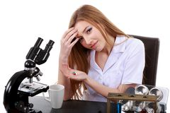 Woman scientist who takes pills for migraine Stock Image