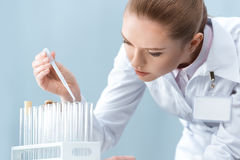 Woman scientist working with test tubes and pipette Royalty Free Stock Photo