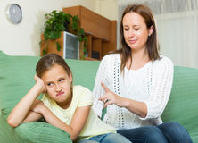 Woman scolds the child Royalty Free Stock Image