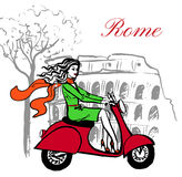 Woman on scooter. Artistic hand drawn sketch of woman driving scooter near Colosseum in Rome, Italy Royalty Free Stock Photography