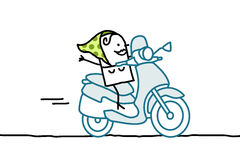 Woman on scooter. Hand drawn cartoon characters Royalty Free Stock Photos
