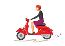 Woman on scooter Royalty Free Stock Photo