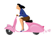 Woman on scooter. Woman on vintage scooter vespa pink Royalty Free Stock Photos