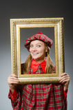 The woman in scottish clothing in art concept Royalty Free Stock Photos