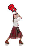 The woman in scottish clothing with guitar Royalty Free Stock Photography