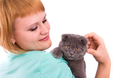 Woman with scottish fold cat Stock Photography