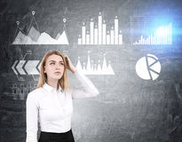 Woman scratches head, six graphs on blackboard Royalty Free Stock Photography