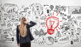 Woman scratching head and light bulb with business icons Stock Photography