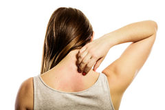 Woman scratching her back isolated Royalty Free Stock Images