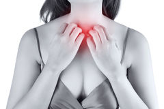 Woman scratching her itchy chest. Isolate on white background royalty free stock photos