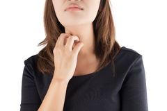 Woman scratching her itchy neck. Isolate on white background stock photos