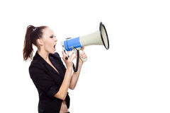 Woman Scream. Teenage girl screaming into a megaphone Royalty Free Stock Photo