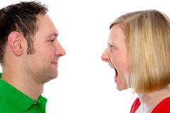 Woman scream at so her husband Stock Photos