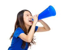 Woman scream on megaphone. Isolated on white background Royalty Free Stock Photography