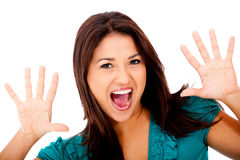 Woman screaming Stock Image