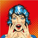 Woman screaming announcement. Vector background. Surprised blonde pop art woman with open mouth and rising hands screaming announcement. Vector background in royalty free illustration