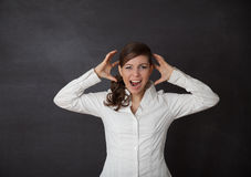 Woman screaming blackboard Royalty Free Stock Photos