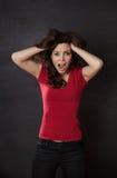 Woman screaming blackboard Stock Image