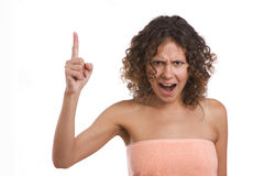 A woman screaming with crazy expression. Stock Image