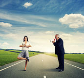 Woman and screaming emotional man Royalty Free Stock Image