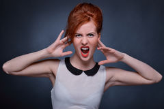 Woman screaming emotionally. Royalty Free Stock Image