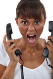 Woman screaming in frustration Royalty Free Stock Photography