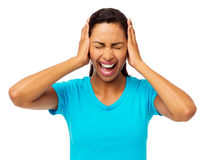 Woman Screaming With Hands Covering Ears Royalty Free Stock Image