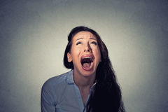 Woman screaming looking up Royalty Free Stock Photo