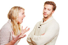 Woman screaming at man. Angry women screaming at men in a discussion Stock Photography